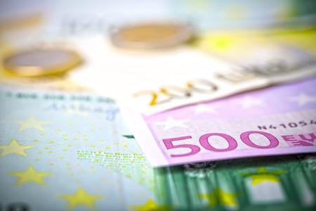 2 50: Euro money: closeup of banknotes and coins Stock Photo