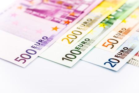 Euro money: closeup of banknotes
