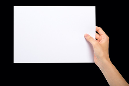 filming point of view: Hand holding a blank sheet of paper