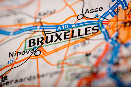 Bruxelles: Map Photography: Bruxelles City on a Road Map Stock Photo