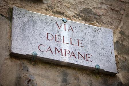 streetsign: The streetsign of Via delle Campane in Siena, Tuscany
