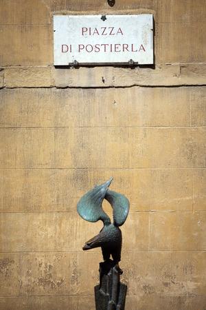 streetsign: The streetsign of Piazza di Postierla in Siena, Tuscany