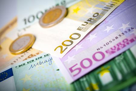 augmentation: Euro money: closeup of banknotes and coins Stock Photo