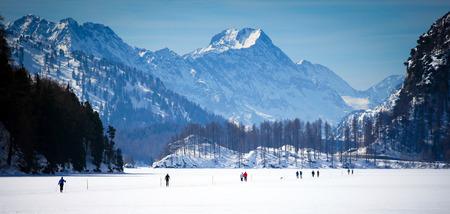Cross Country Ski Tracks in Engadin, Switzerland