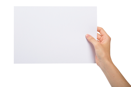 isolated white background: Hand holding a blank sheet of paper