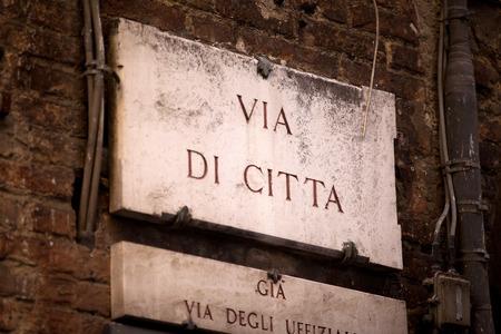 streetsign: The streetsign of Via di Città in Siena, Tuscany
