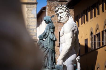 neptune: The Fountain of Neptune in Florence, Italy Stock Photo