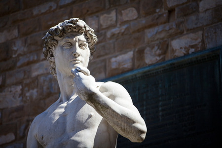 michelangelo: Copy of Michelangelos David in Piazza della Signoria, Florence, Italy