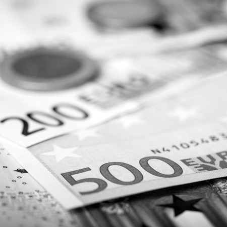 Euro money: closeup of banknotes and coins Stock Photo