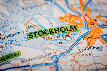 Map Photography: Stockholm City on a Road Map Stock Photo