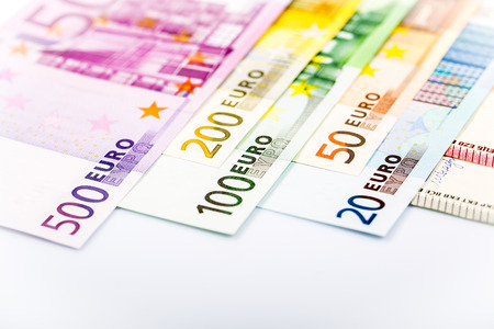 one hundred euro banknote: Euro money: closeup of banknotes