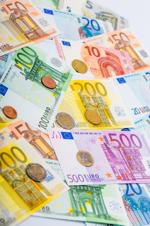 one hundred euro banknote: Euro money: closeup of banknotes and coins Stock Photo