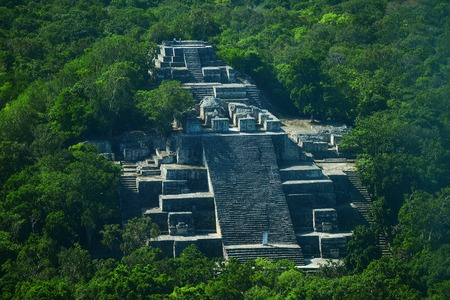 Campeche, Mexico: Ruins of the ancient Mayan city of Calakmul surrounded by the jungle
