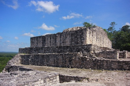 calakmul: Campeche, Mexico: Ruins of the ancient Mayan city of Calakmul surrounded by the jungle Stock Photo