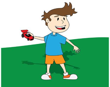 na: garoto brincando com carrinho vermelho na m