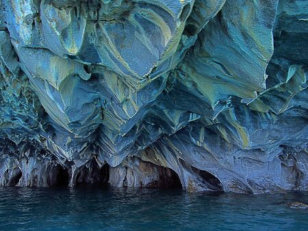 Marble caves in Patagonia, General Carrera Lake, Chile. Beautiful natural formations of calcium carbonate minerals.