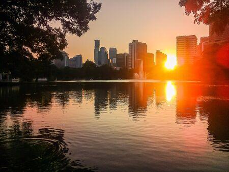 Sunset at Lumpini Park in Bangkok, capital city of Thailand