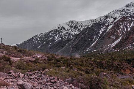 mountain landscape in Lo Valdés Valley, Cajón del Maipo, Central Andes of Chile. 写真素材