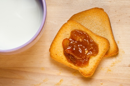 breackfast: Typical italian breackfast: Jam, crispbread and a cup of good milk. Stock Photo