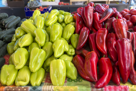 latvia: market with various colorful fresh fruits and vegetables