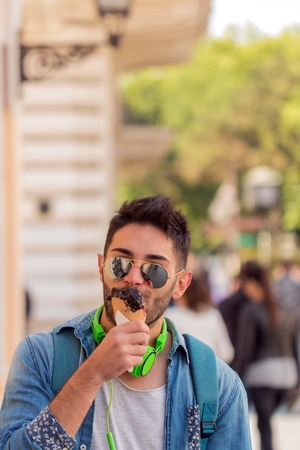 Close up of a man eating ice cream Stock Photo