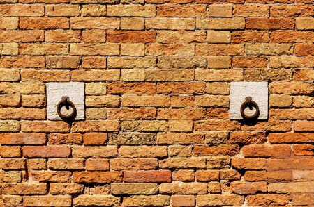 Patterned brick wall with two horse stable rings