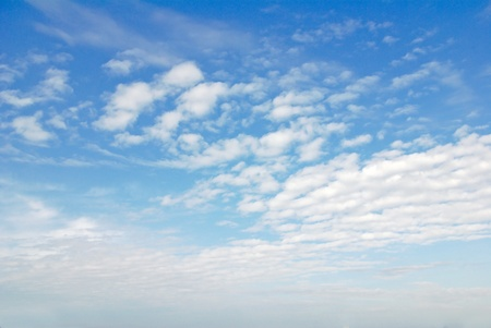 blue sky with clouds, horizontal view