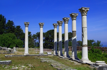 hippocrates: Colonnade among the ruins of the Asklepion in Kos island, Greece