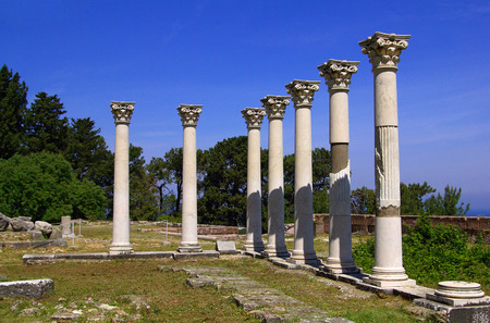 Colonnade among the ruins of the Asklepion in Kos island, Greece