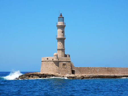 Lighthouse at Chania, Crete, in the Mediterranean Sea