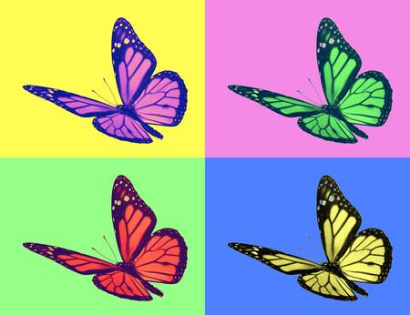 monarch butterfly in pop-art style