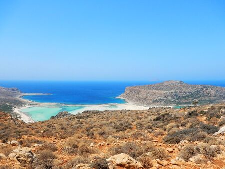 Mediterranean landscape at Balos beach, Crete island