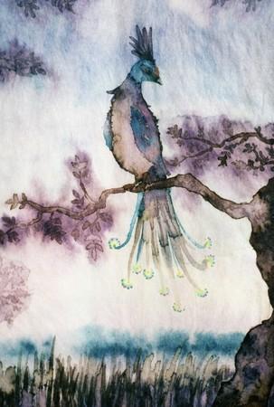 renewing: tercolor of a mythological bird