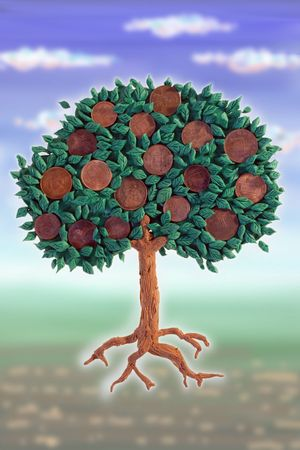 plasticine: Money tree with coins as fruits