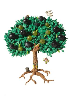summer tree, plasticine work with some real fruits and cartoon character photo