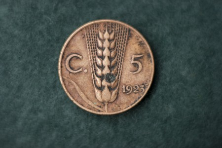 Italian 5 cent. coin at 1923 fascism hera photo