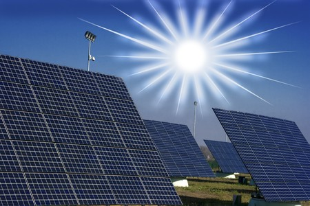 Solar panel against blue sky Stock Photo - 8267627