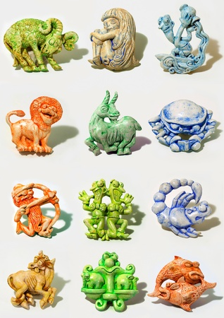 all horoscope signs sculpted in cartoon style