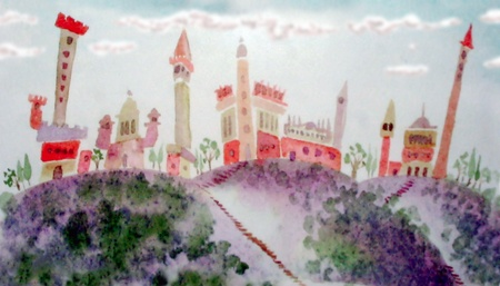 old castle and village with towers- hand drawing fantasy illustration Stock Photo