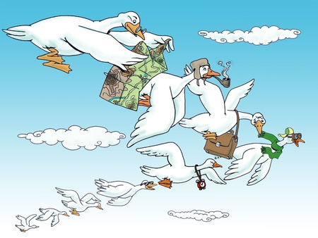 Flock of snow geese  flying in a formation,hand drawing Stok Fotoğraf