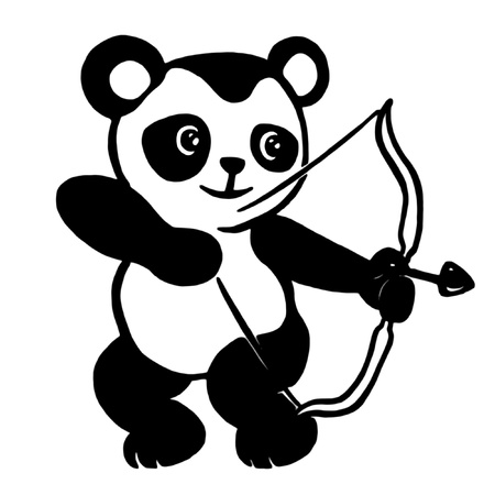 one panda: Cartoon character with bow and arrow