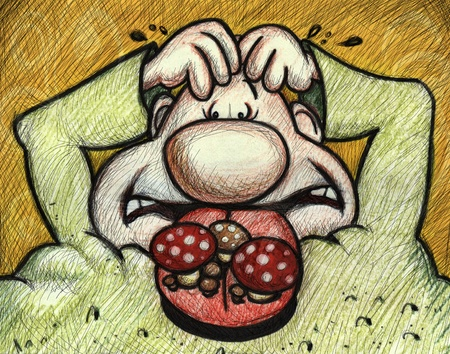 hand drawing cartoon character  with halitosis problem photo