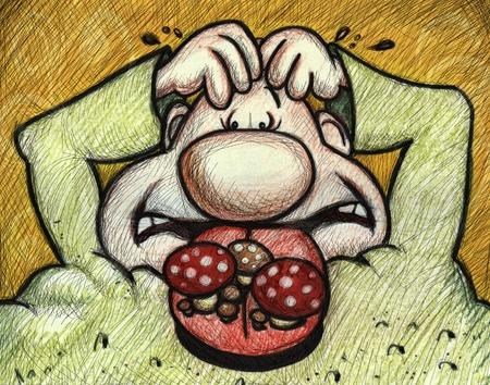 halitosis: hand drawing cartoon character  with halitosis problem Stock Photo