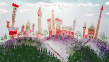 old castle and village with towers- hand drawing fantasy illustration illustration