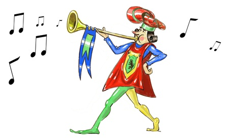 harbinger: medioeval character playing trumpet- hand drawing fantasy illustration Stock Photo