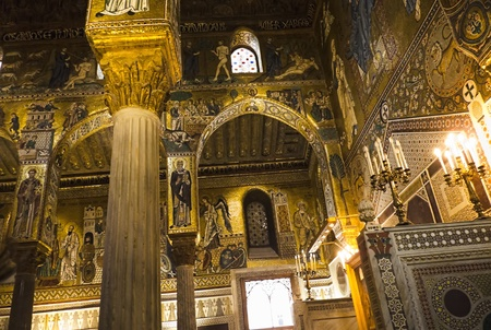 Palermo,Italy,march 12 2011,interior of the chapel at The Norman Palace, Sicily.  Editorial