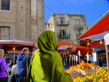 Palermo,Italy,march 12 2011,the  famous ancient market of Ballarò Editorial