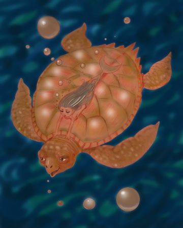 an underwater fantasy illustration isolated over white, sea turtle with a little mermaid cartoon style illustration