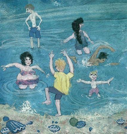 naive illustration people having fun on a  beach Stock Illustration - 9517078