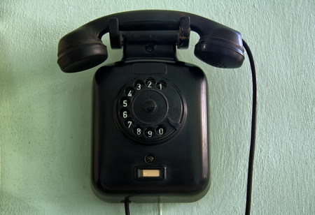 horizontal shot of a vintage wall telephone  Stock Photo - 9542056